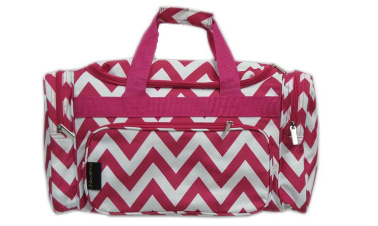"Chevron Fuchsia Weekender Bag-20"""