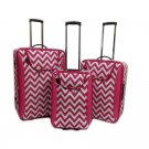 "Fuchsia Chevron 3 Pc Luggage Set -19"", 23"", 27"""