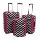 "Black & White Chevron 3 Pc Luggage Set -19"", 23"", 27"""