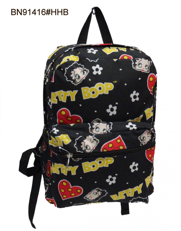 "Betty Boop-Hearts & Heads Black Backpack- 19"""