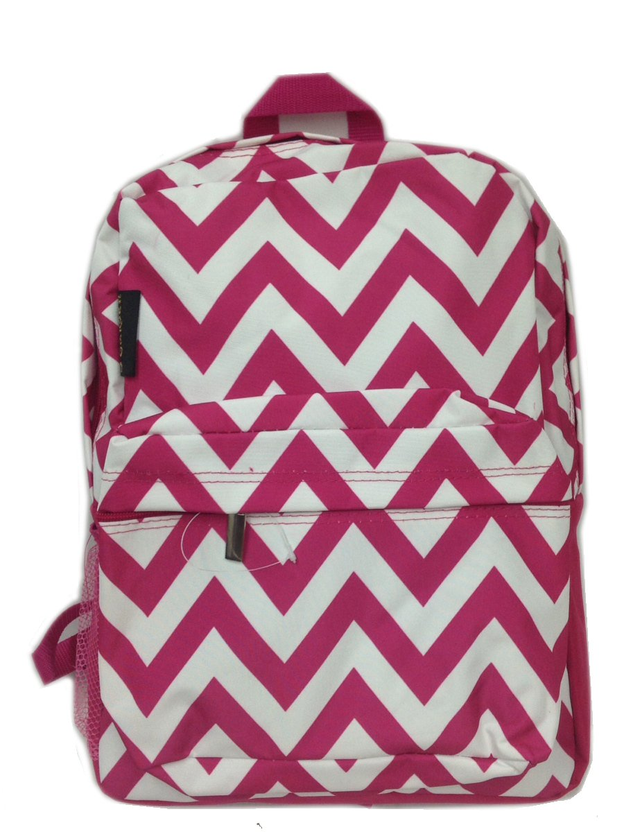 Fuchsia Chevron Backpack 16""