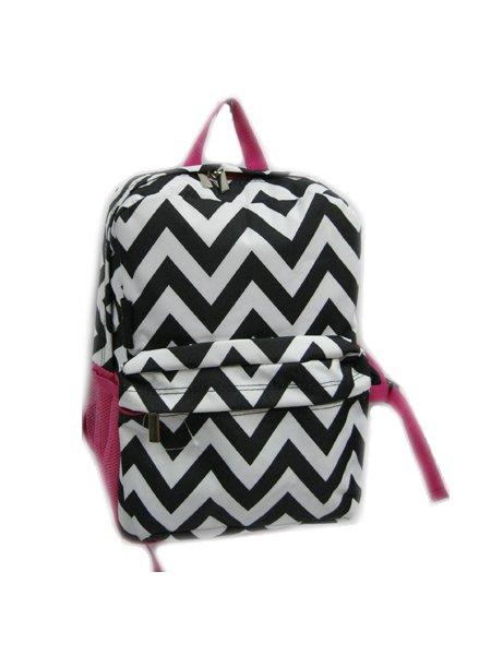 """Chevron Black & White Backpack - 16"""""""