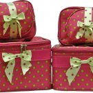 Green Polka Dots on Pink Cosmetic Case -6 Pc