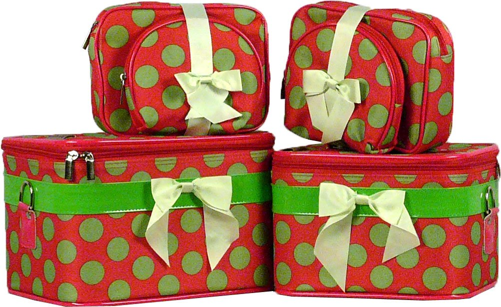 Big Green Dots on Pick Cosmetic Case - 6 Pc