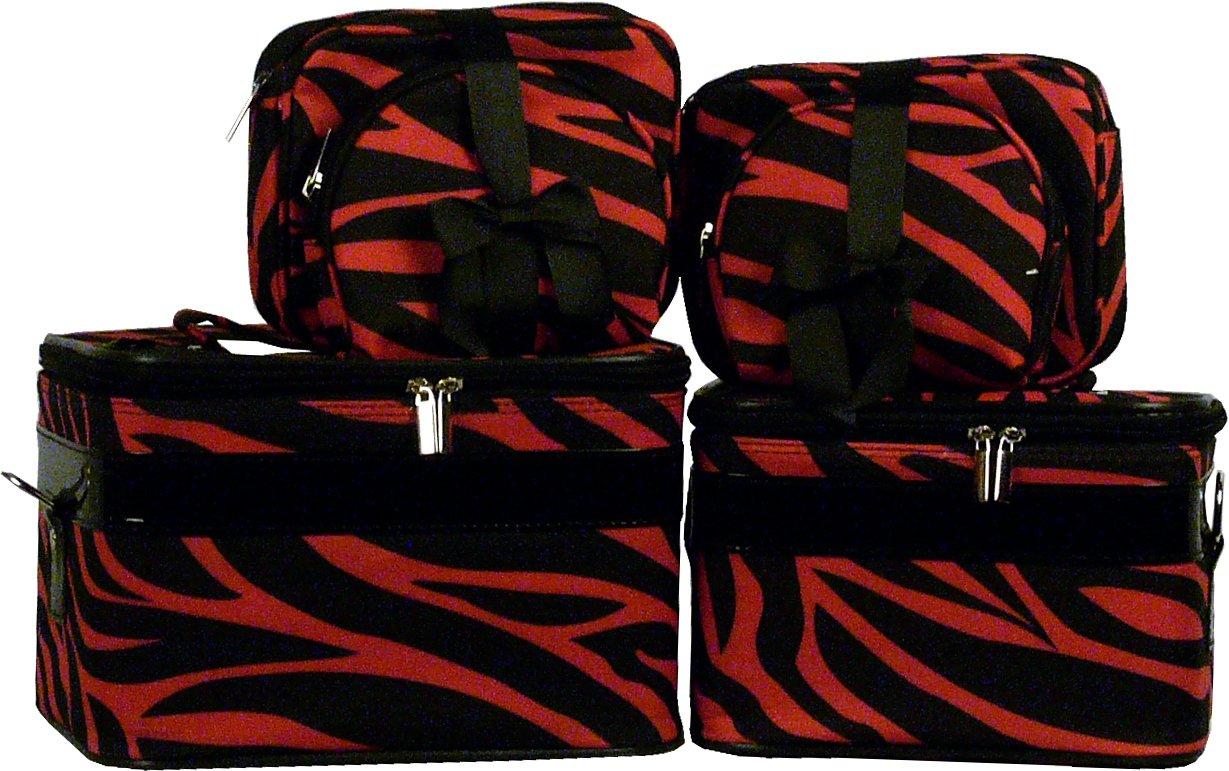 Black/Burgundy Zebra Cosmetic Case - 6 Pc