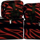 Black/Burgundy Zebra Cosmetic Case - 6 Pc