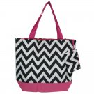"Chevron Black & White Shopping Bag 17"""