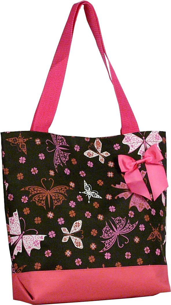 """Pink Butterfly Shopping Bag - 17"""""""