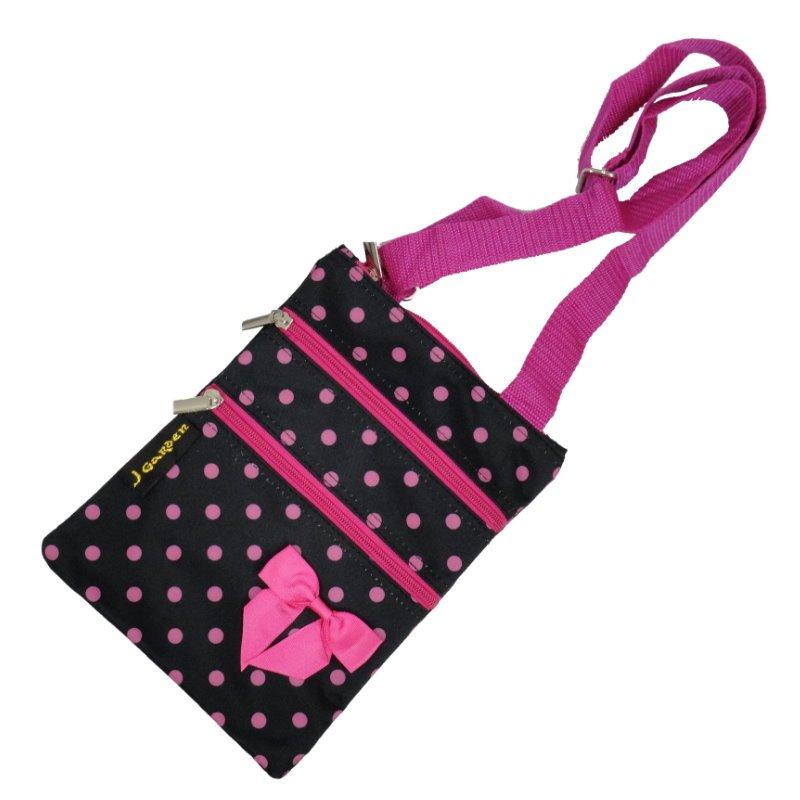 "Pink Polka Dots 3 Zippers Passport Bag - 10"""
