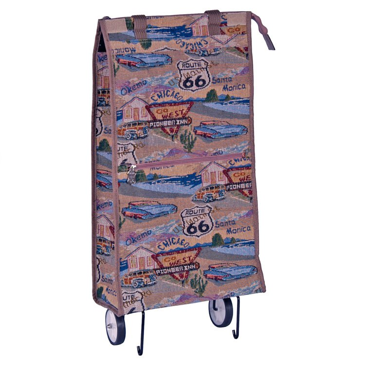 """Route 66 Rolling Shopping Bag - 22"""""""