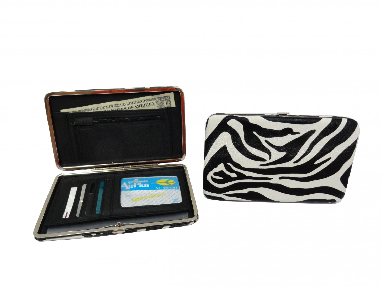 "Patent Leather Flat Wallet, Zebra -7"""