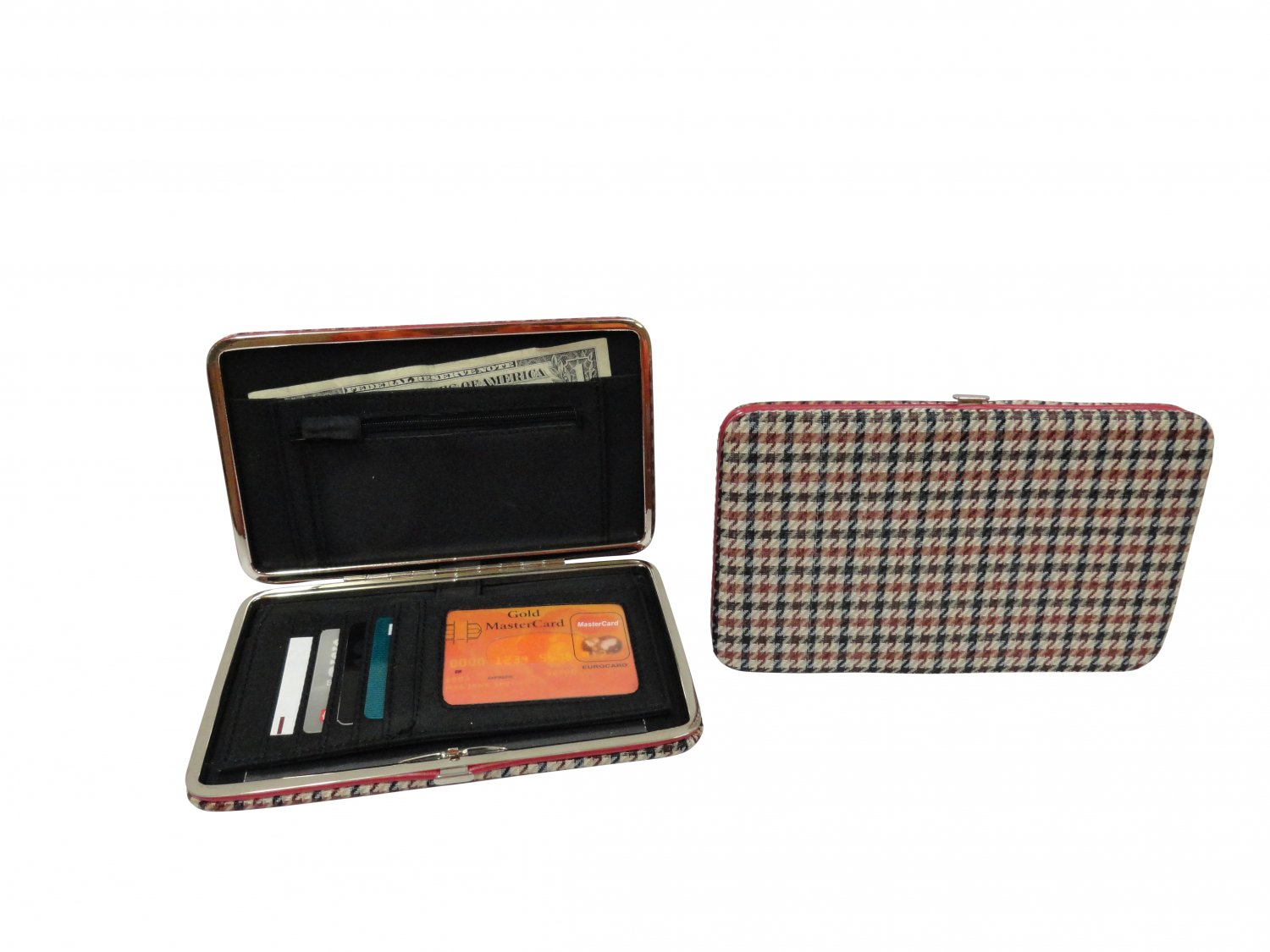 """Polyester Flat Wallet, Houndstooth - 7"""""""