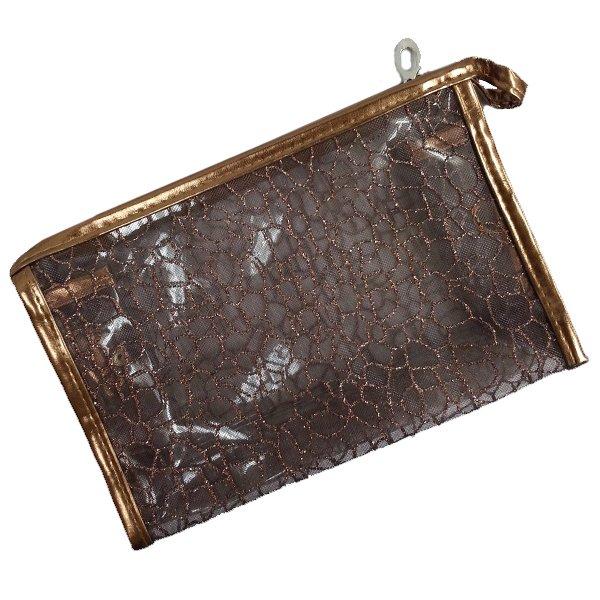 Transparent Cosmetic Bag,Gold