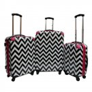 "Chevron Black & White Pink Trim Set - 20"", 24"" 28"""