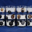 LIBBEY Mid Century Set of 4 Coin Frosted Bands Glasses Tumbler Black Gold 10 Oz
