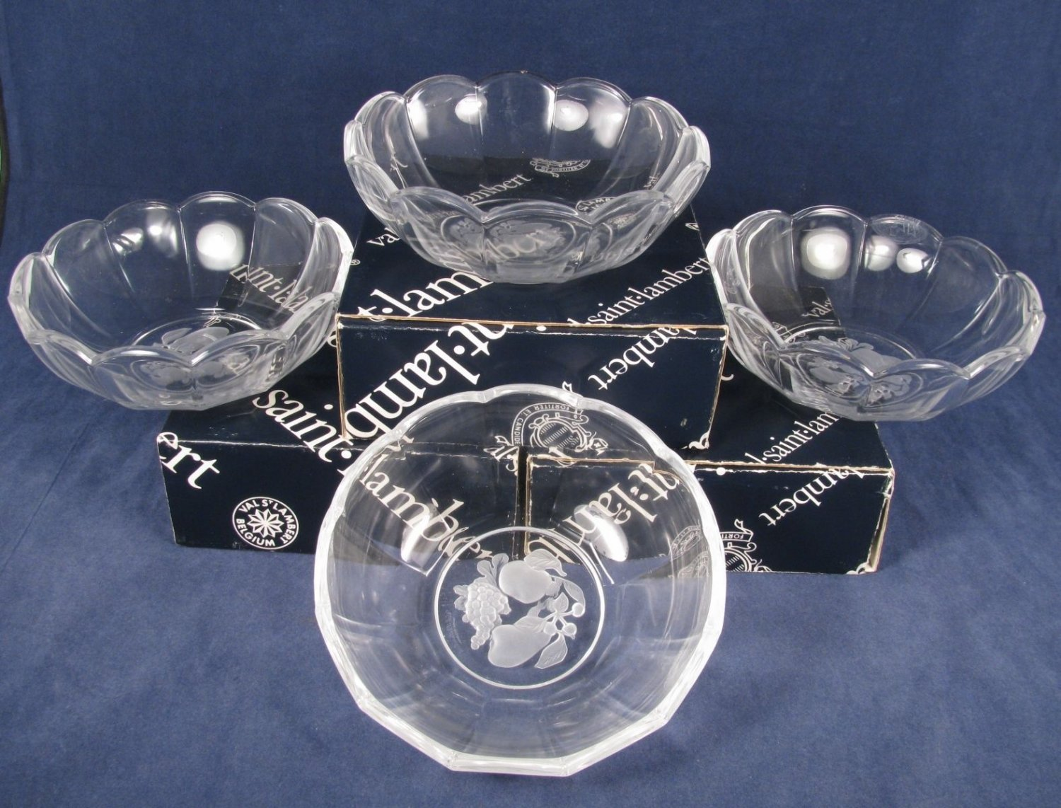 "VAL SAINT LAMBERT Set of 4 GARDENIA Brussels Crystal Glass Candy Dish Bowl 6"" Fast Free Ship"