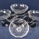 "VAL SAINT LAMBERT Set of 4 GARDENIA Brussels Crystal Glass Candy Dish Bowl 6"""