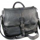 Vintage L L BEAN Black Leather Computer  Briefcase Messenger Office Handbag Fast Free Ship