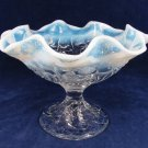 VTG FENTON Glassware Clear Milk Glass Compote Candy Dish Fruit Bowl Opalescent