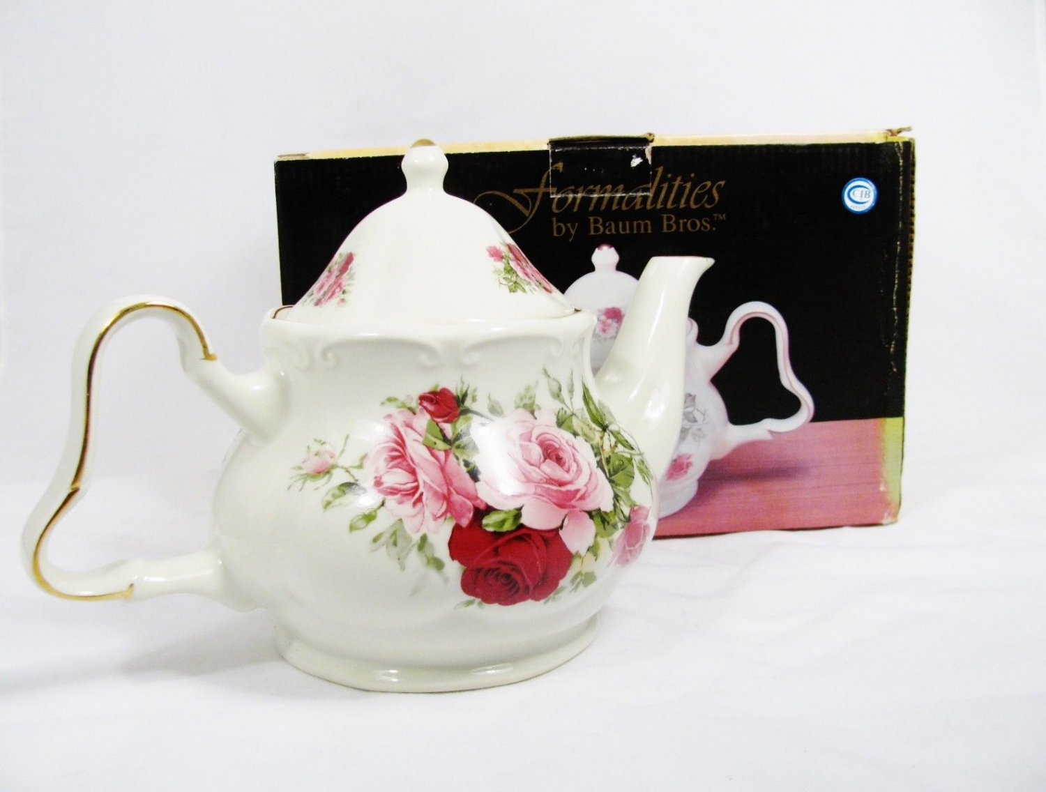 FORMALITIES by BAUM BROS Victorian Rose Teapot Pink & Red Gold Trim 5 Cup w/ Box Fast Free Ship