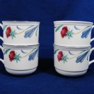 LENOX USA Chinastone Set of 4 Tea Coffee Cup Floral Poppies On Blue White 8 Oz