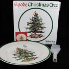 "SPODE Christmas Tree 1 Tidbit Snack Serving Tray Gold Handle 10 3/4"" NEW England Fast Free Ship"