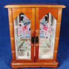 Wooden Jewelry Organizer Cabinet Storage Chest Drawer Glass Floral Door Mirror Fast Free Ship