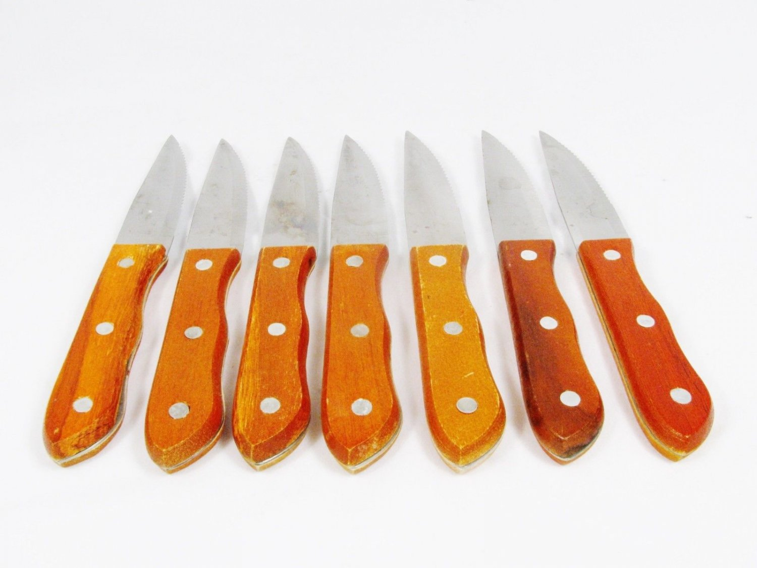 Restaurant Style Stainless Steel Set of 8 Steak Knives Rivetted Wooden Handles Fast Free Ship