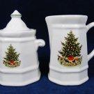 PFALTZGRAFF Sugar Bowl & Creamer Set Christmas Heritage Collection USA EUC Fast Free Ship