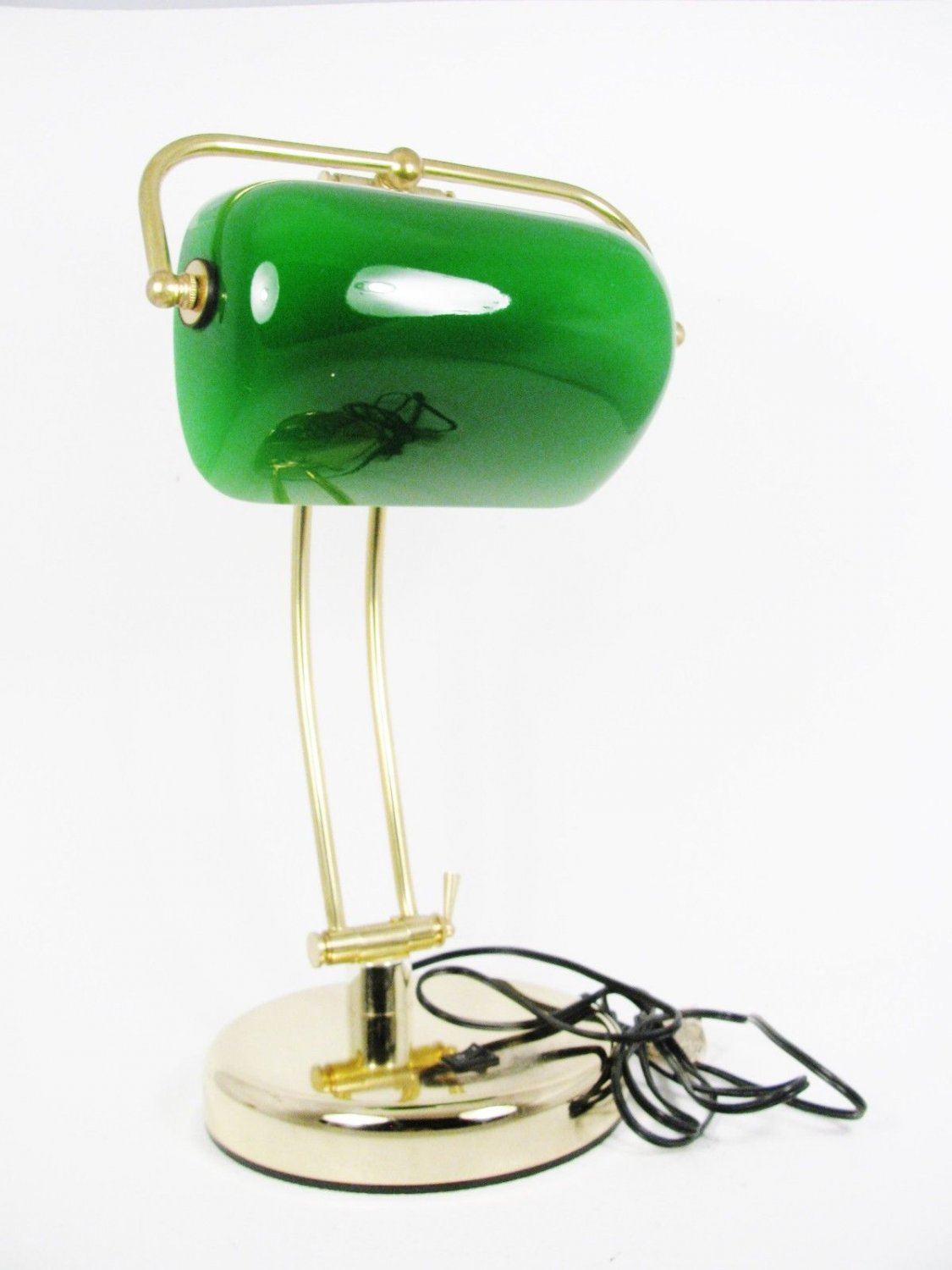"""Brass Double Bars Student Bankers Desk Piano Lamp Emerald Glass Shade 17"""" Fast Free Ship"""