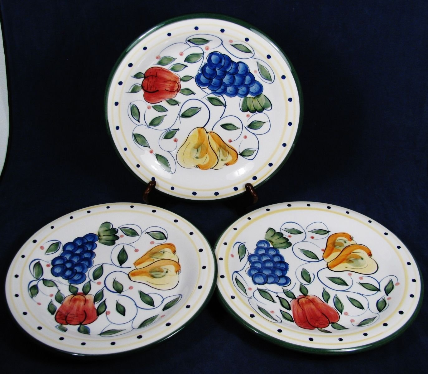 "BELLA CASA by GANZ Set of 3 Dinner Plates Multi Color Fruits Handpainted 10.5"" Fast Free Ship"
