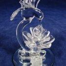 Hand Blown Clear Art Glass Baron Hummingbird Flower Figurine on Mirror Base Fast Free Ship