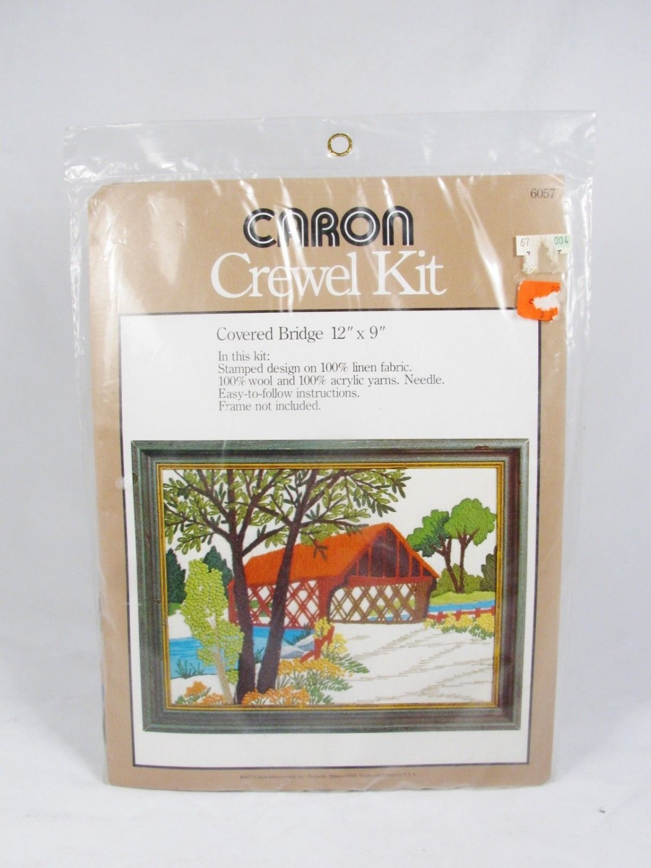 Vintage 1977 CARON Crewel Embroidery KIT 6057 Covered Bridge 12 x 9 NEW Fast Free Ship