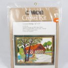 Vintage 1977 CARON Crewel Embroidery KIT 6057 Covered Bridge 12 x 9 NEW Fast Free Ship