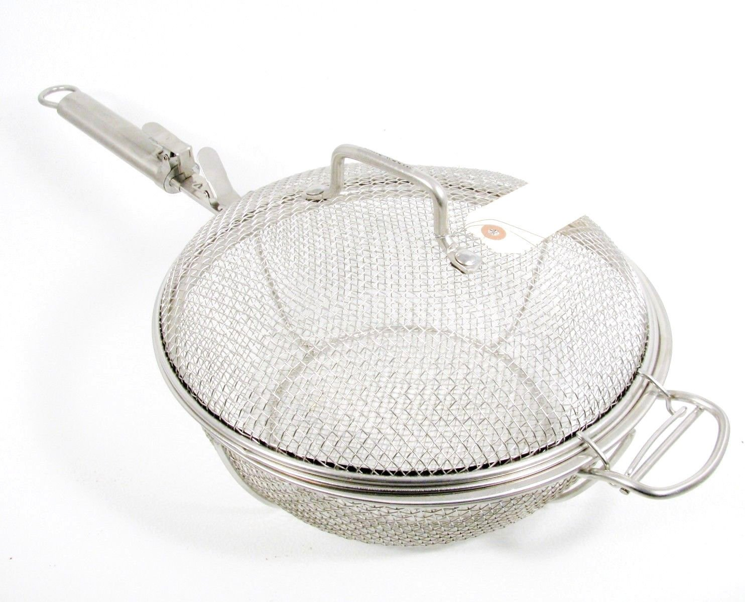 TECHNIQUE Round Shaker Deep Fryer Barbeque Basket Stainless Steel Removable Lid Fast Free Ship