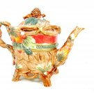 """FITZ AND FLOYD Essentials Teapot and Lid Cone Leaves Branch Christmas Lodge 8"""" Fast Free Ship"""