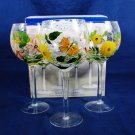 HOME ESSENTIALS Laurel Hill Set 3 Wine Glass Goblets Floral Butterfly Motif Fast Free Ship