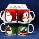 SAKURA ONIEDA Stoneware Set of 4 Coffee Cups Mug Breakin The Ice SnowmanOrig Box Fast Free Ship