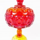VTG LE Smith Moon & Stars Glass Footed Compote Candy Dish Lidded Ruby Red