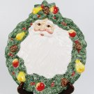 FITZ & FLOYD Christmas Santa Claus Canape Snack Round Plate Tray Pear Apple Fast Free Ship