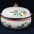 Enamelware Covered Casserole Dish Pot Cookware Brass Handles Floral 10 3/8""
