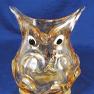 HQT OWL Bird Glass Art Vase Figurine Paperweight Handmade Design Amber Honey Fast Free Ship