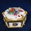 Vintage Wind Up Musical Trinket Box Metal Hinged Gold Tone Trim Floral Japan Fast Free Ship