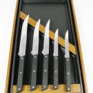 ECKO Set of 5 Kitchen Cutlery Knife Set Stainless Wall Mount Wood Case Fast Free Ship