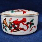 MIKASA MAXIMA Trinket Box Round Porcelain Jubilation Holly Berry Ribbon Trumpet Fast Free Ship