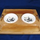 WOODPECKER Maple Wood Ware Cracker Bread Snack Tray w/ 2 Dip Dishes Japan 16x14 Fast Free Ship