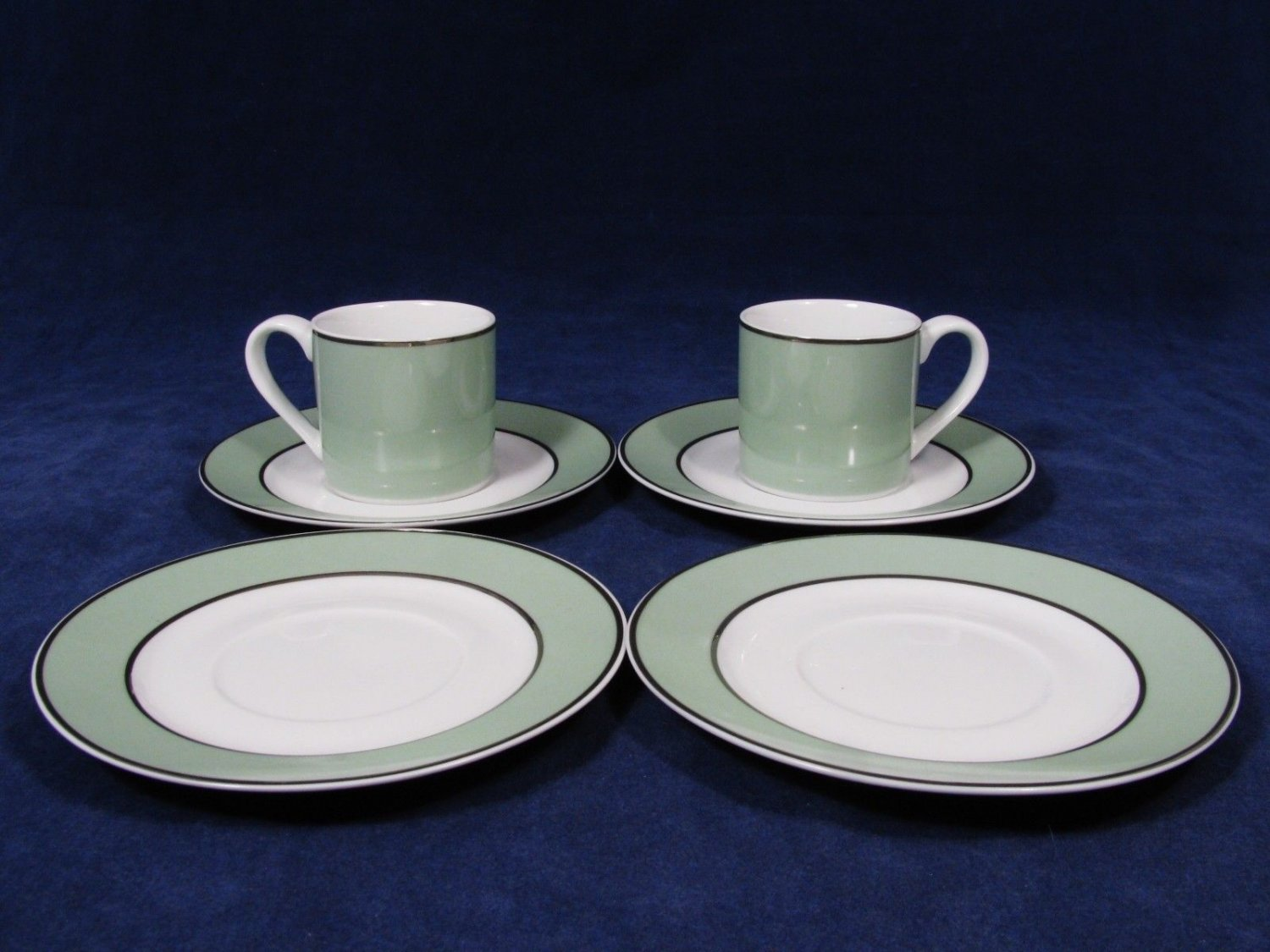 Persia Green Essence by STONEAGE  Espresso/Demitasse 4 Saucers 2 Cups Fast Free Ship