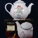 CORELLE Coordinates Stoneware 1QT Teapot Callaway Holiday Topiary Red Bow w/ Box Fast Free Ship