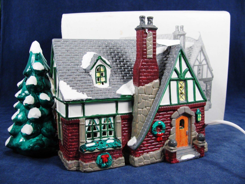 DEPARTMENT 56 The Orig Snow Village Oak Grove Tudor Handpainted Ceramic w/ Box Fast Free Ship