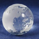 CELEBRATIONS Set 2 Glass Paperweight Etched Globe Eryocal Cube w/ Box Case Velvet Fast Free Ship